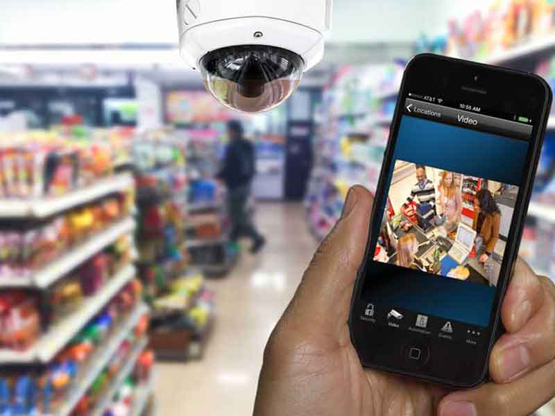 Security camera system in store.